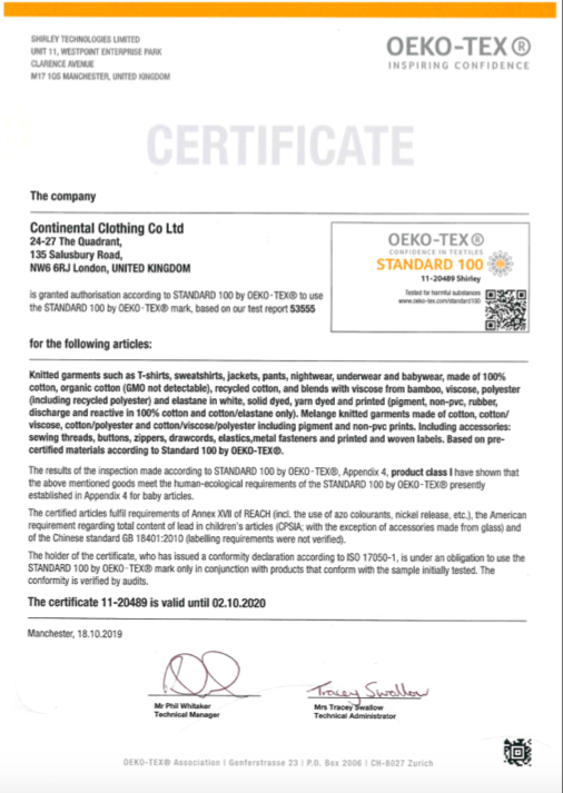 Certificate Continental Co LTD