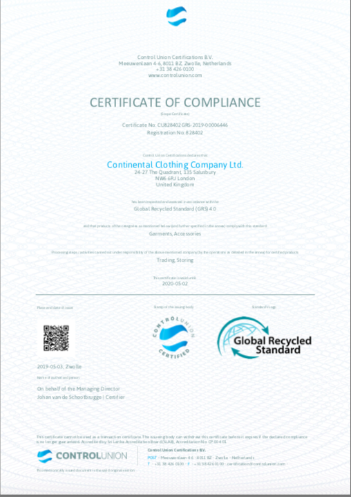 Certificate of Compliance Continental Clothing